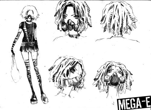 Estudo de personagens de HQ cyberpunk